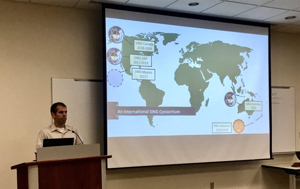 Dr. Matt Anderson demonstrates the extent of SING Consortium across its international sites. This includes SING USA, SING Canada, SING Aotearoa, and SING Australia.